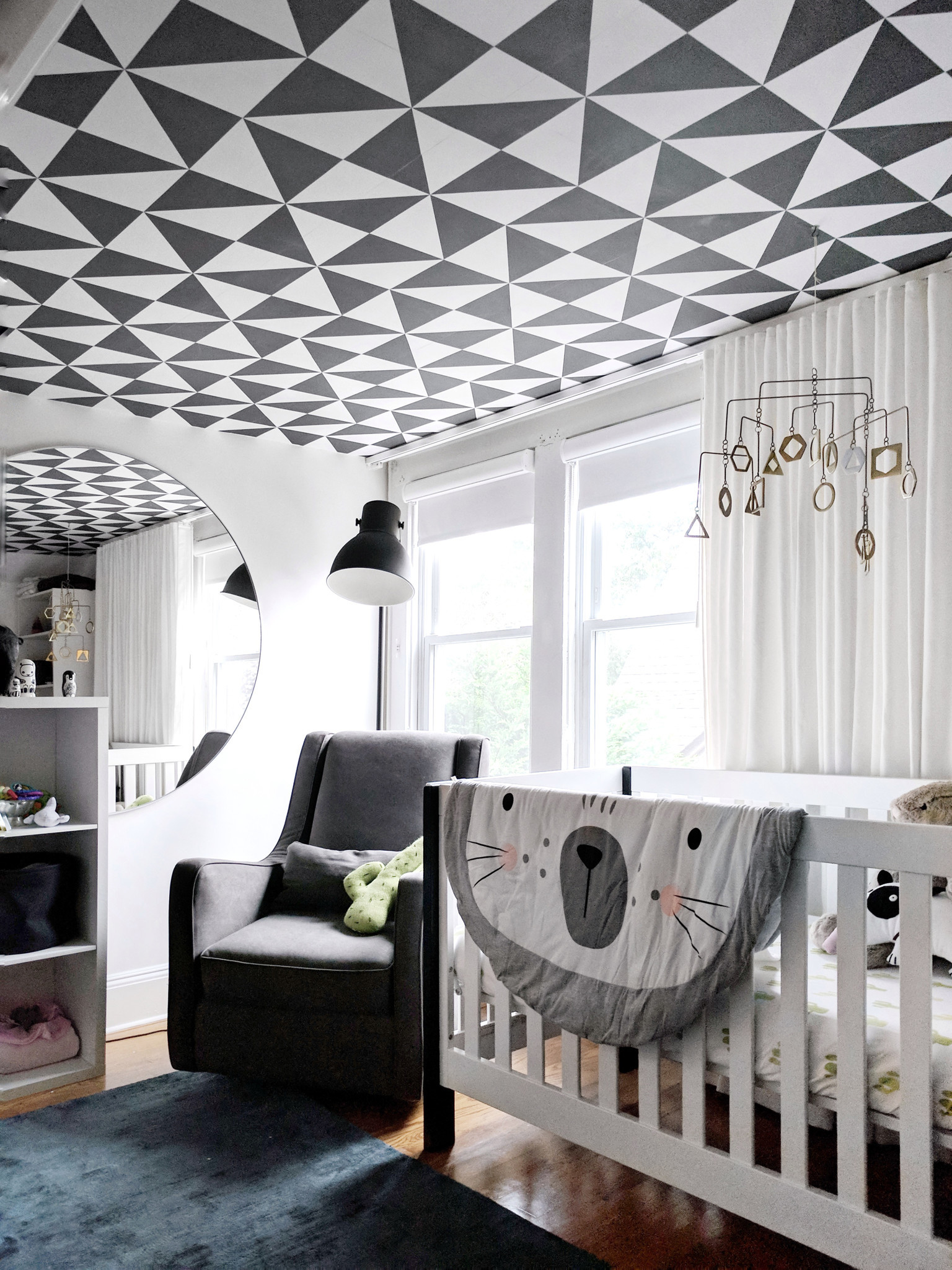 5th Wall: Designer Crystal Sinclair used graphic wallpaper by Chasing Paper on a nursery ceiling. Cr