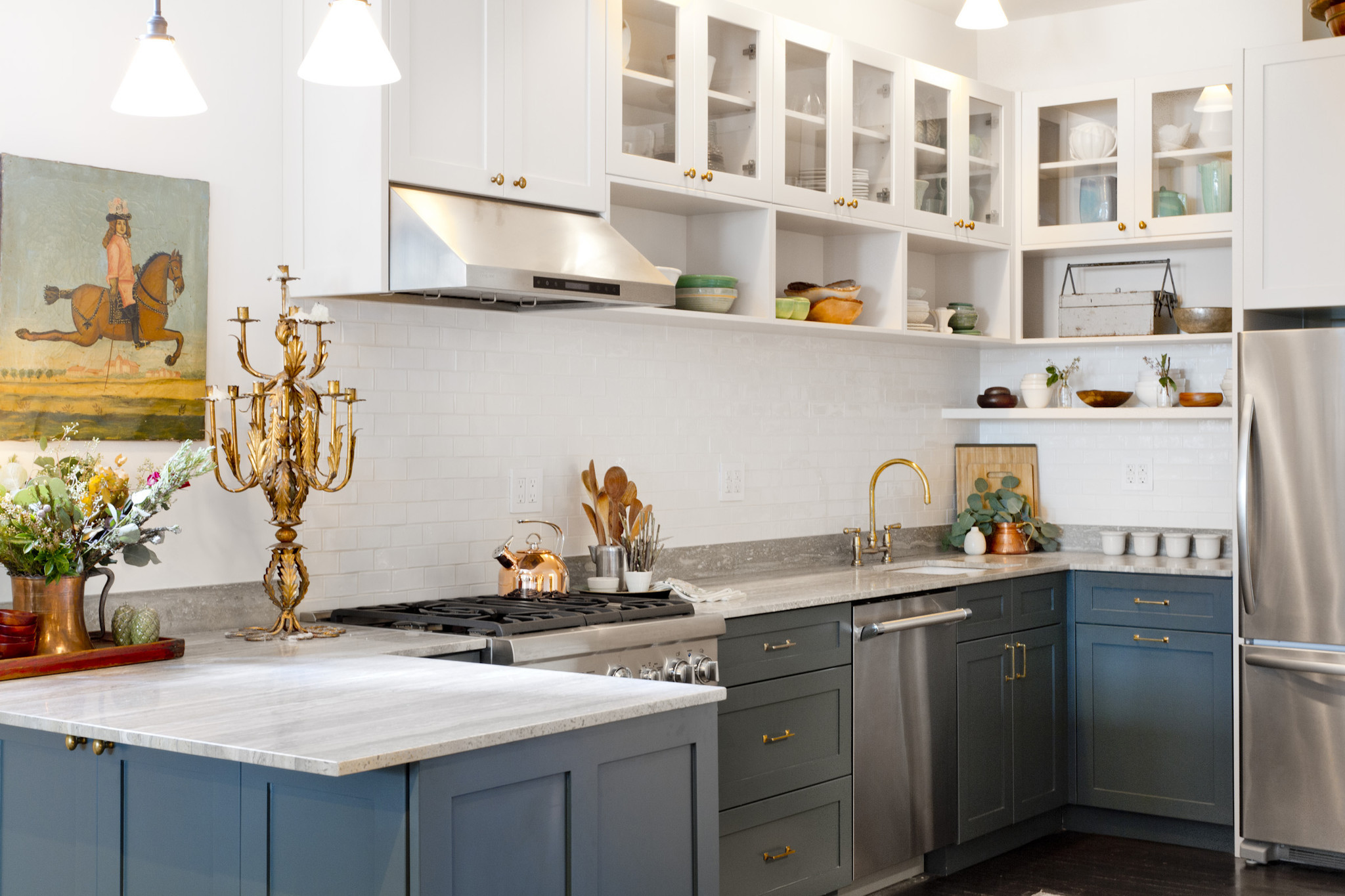 18 home decor and design trends we39ll be watching in 2018 for Kitchen cabinet trends 2018 combined with navy blue and white wall art