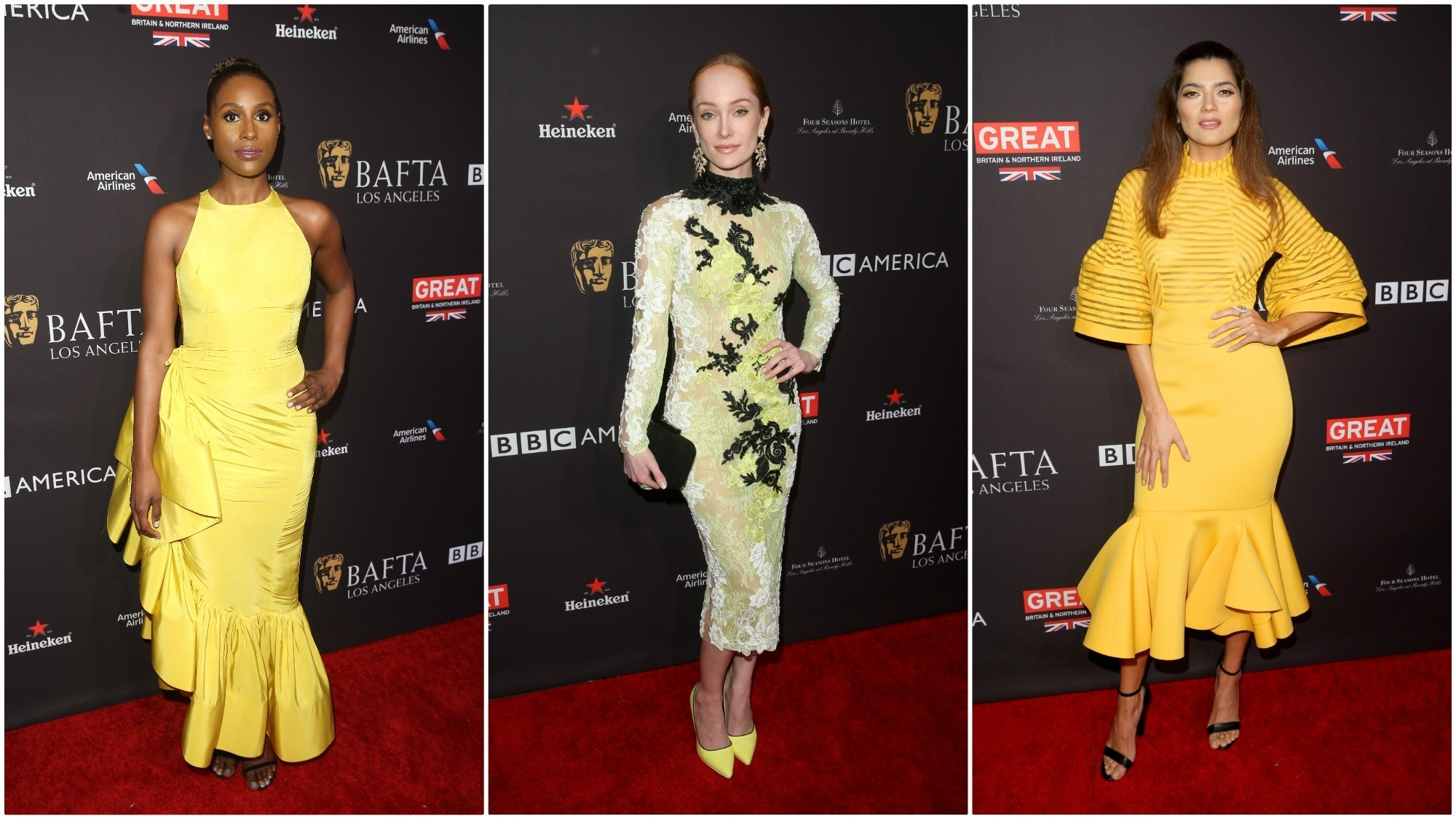 Issa Rae, Lotte Verbeek and Blanca Blanco attend the BAFTA Los Angeles Tea Party at Four Seasons Hotel Los Angeles at Beverly Hills on Jan. 6 in Los Angeles.