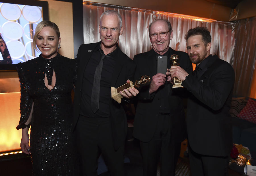 From left, Abbie Cornish, Martin McDonagh, Richard Jenkins and Sam Rockwell attend Fox's Golden Globes after-party on Jan. 7. (Jordan Strauss / Invision)