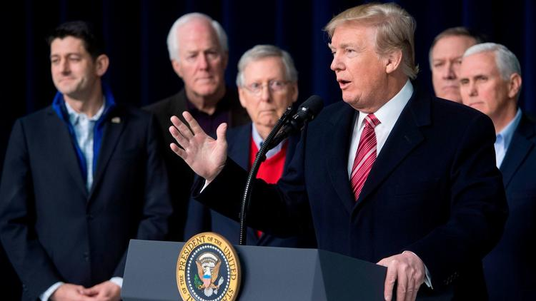 President Trump speaks during a retreat with Republican lawmakers at Camp David this month. (Saul Loeb / AFP/Getty Images) None
