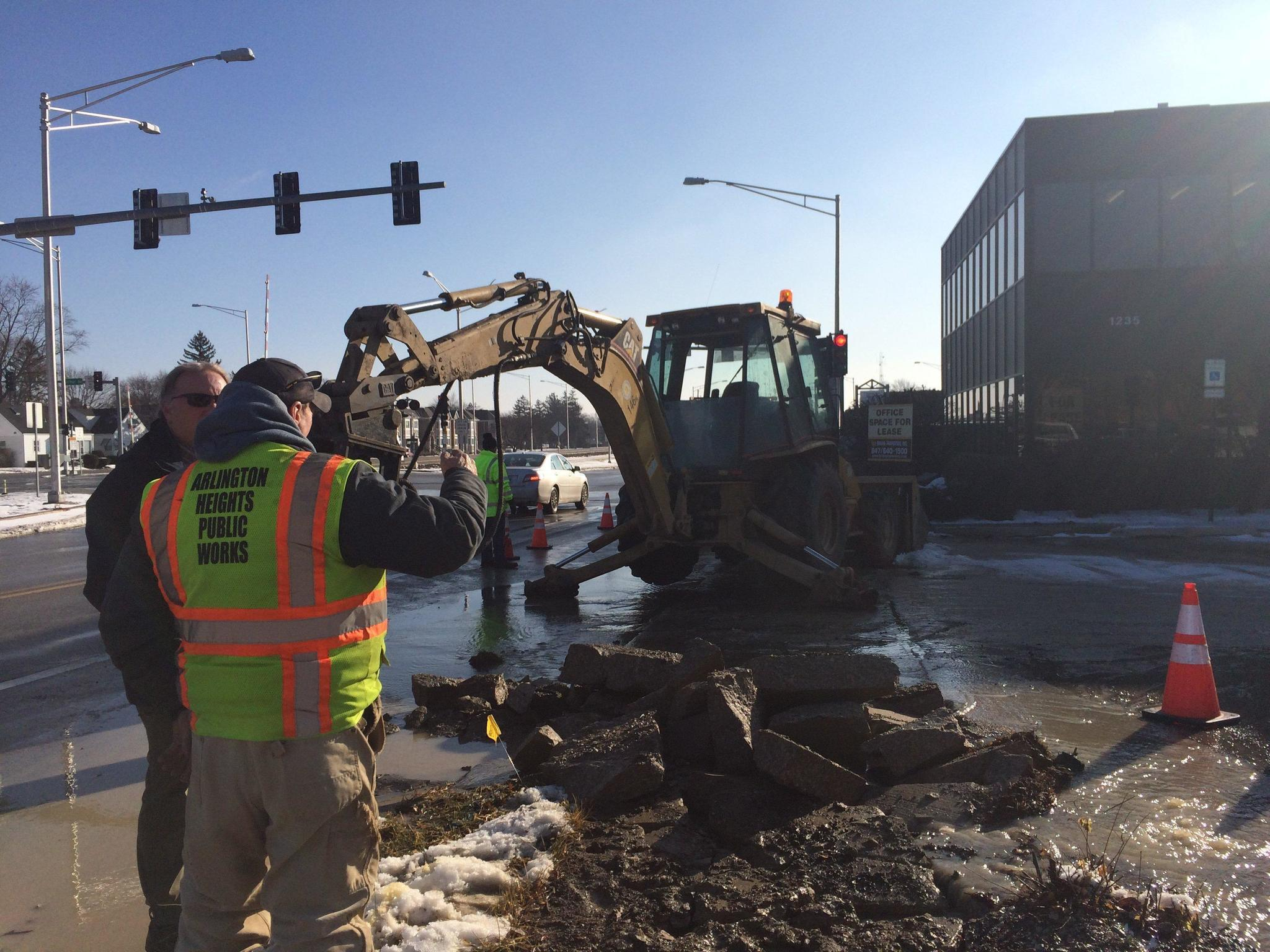 Arlington Heights crews address more water main breaks as weather warms
