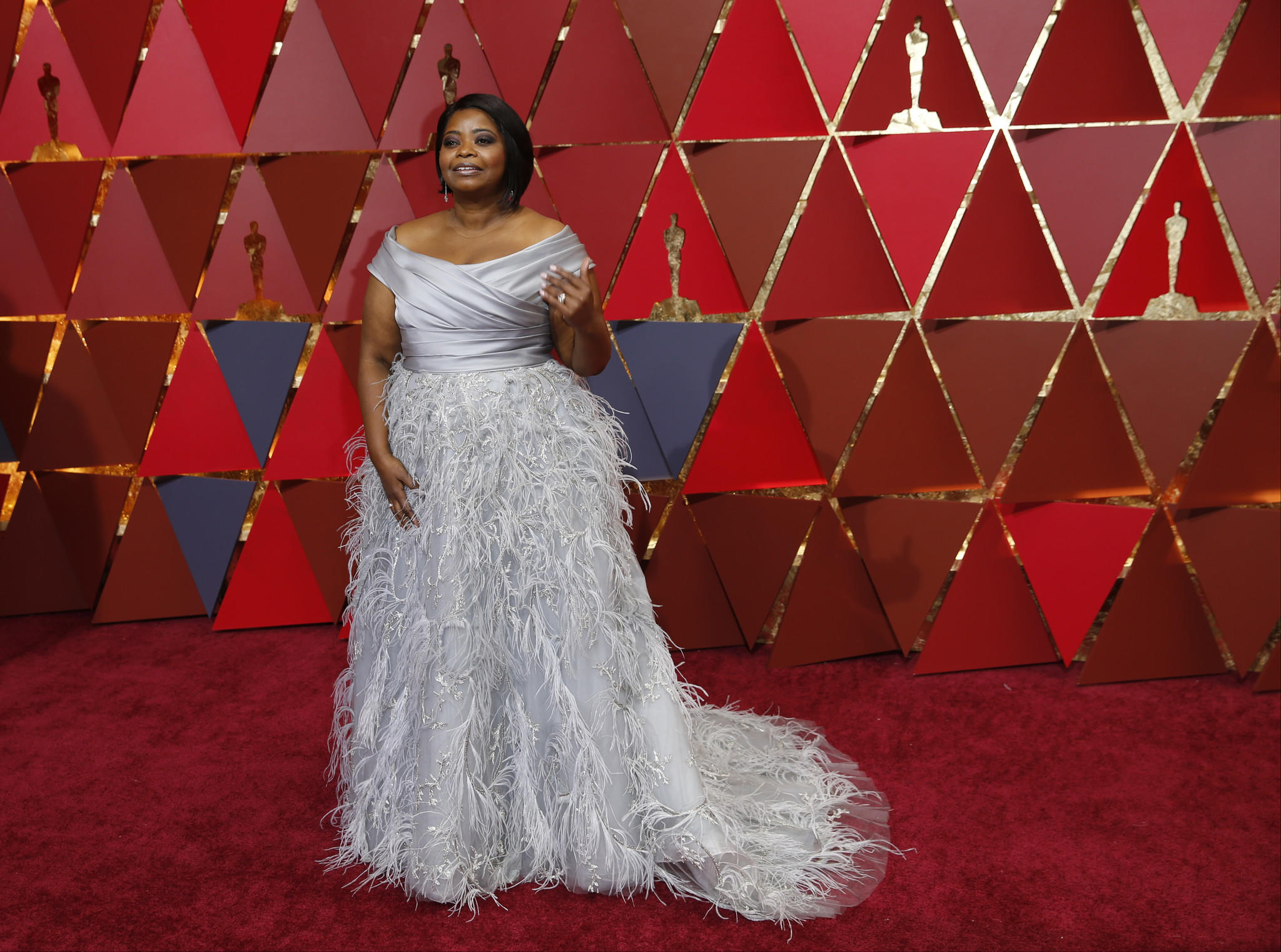 Octavia Spencer in Marchesa at the 2017 Oscars. The label seemed to be MIA at the first awards show since the Weinstein scandal broke. (Allen J. Schaben / Los Angeles Times)