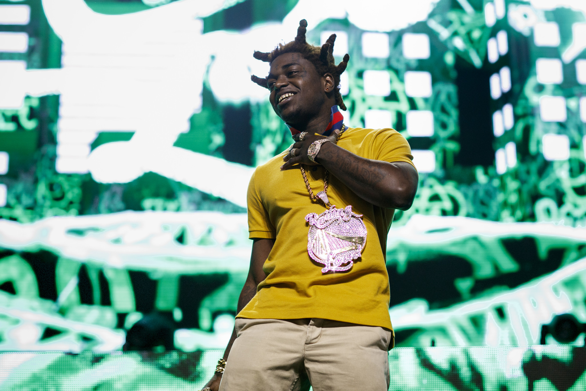 "SAN BERNARDINO,CA --SATURDAY, DECEMBER 16, 2017--Kodak Black perfoms on the ""Dab Stage,"" at the Roll"