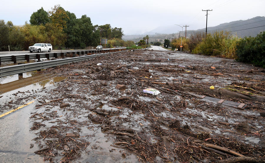 A view of the Northbound 101 freeway in Carpinteria as mud sits along the road from a rain storm Tuesday morning. (Wally Skalij / Los Angeles Times)