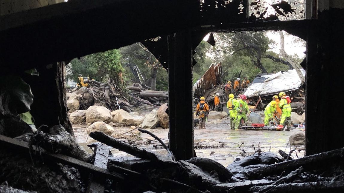 Hot Springs Road in Montecito on Tuesday morning. (Mike Eliason / Santa Barbara County Fire Department)