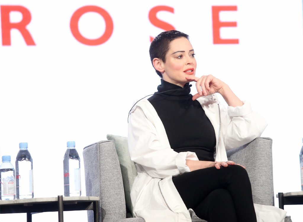 Rose McGowan speaks at a TCA panel on Tuesday. (Frederick M. Brown / Getty Images)