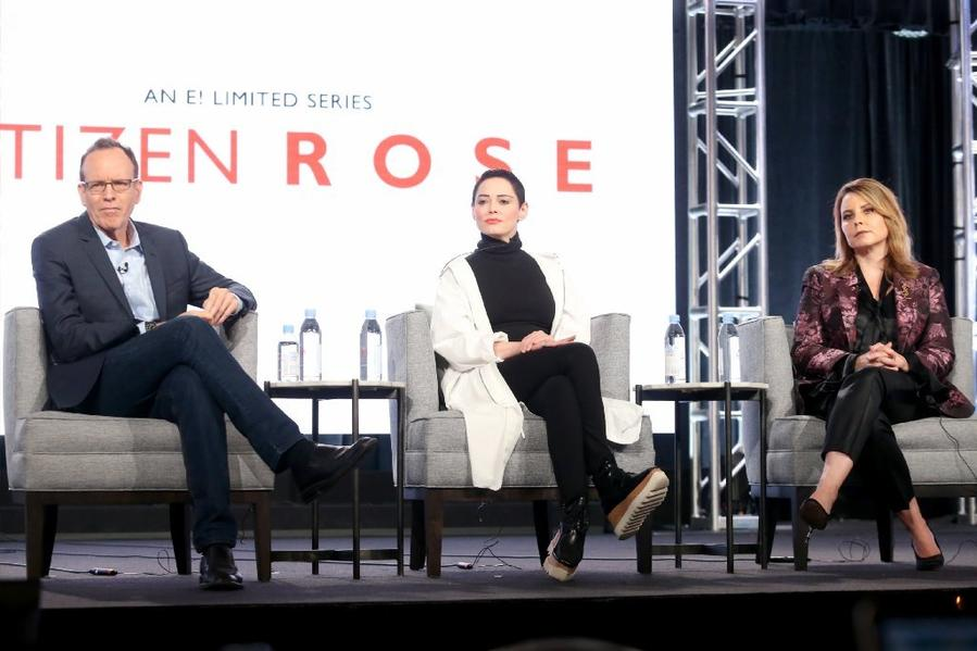 Executive producer Jonathan Murray, left, Rose McGowan and showrunner Andrea Metz address the TCA audience on Tuesday. (Frederick M. Brown / Getty Images)