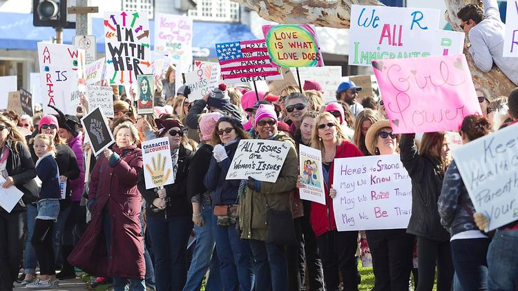 A march for women's rights last year in Laguna Beach. (Daily Pilot)