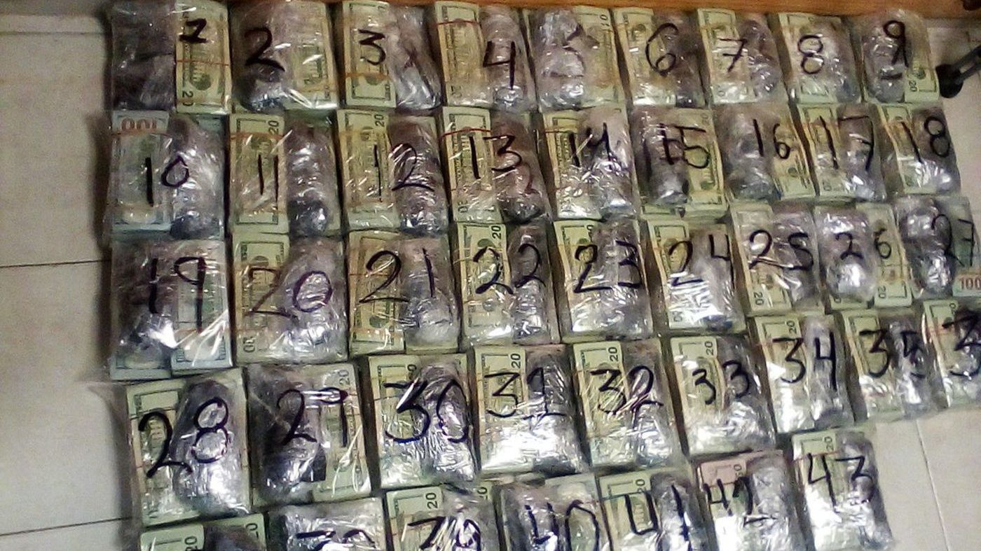 Mexican Navy seizes US 981.000 dollars hidden in a bus, Reynosa, Mexico - 09 Jan 2018
