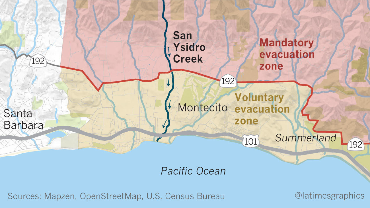 Map of evacuation zones in Montecito with San Ysidro Creek