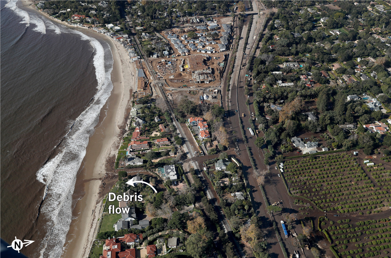 Debris flows into the ocean