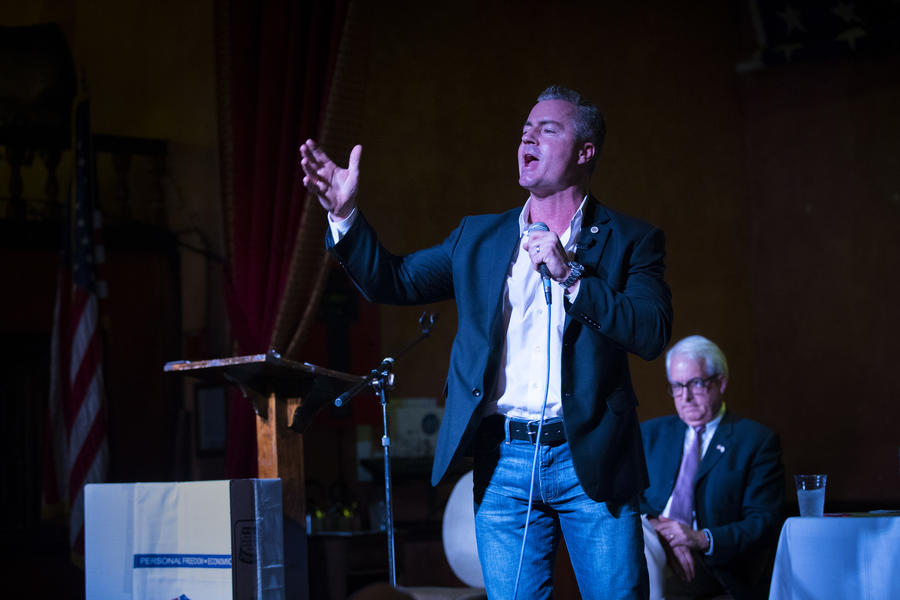 Republican candidate for governor Travis Allen at a debate hosted by the Redlands Tea Party Patriots on January 4. (Gina Ferazzi)