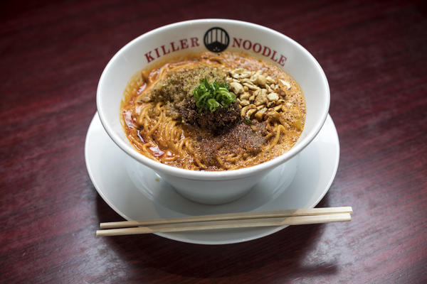 Jonathan Gold tried the level-six-spicy ramen at Killer Noodle. It comes with water, towels and an endorphin high