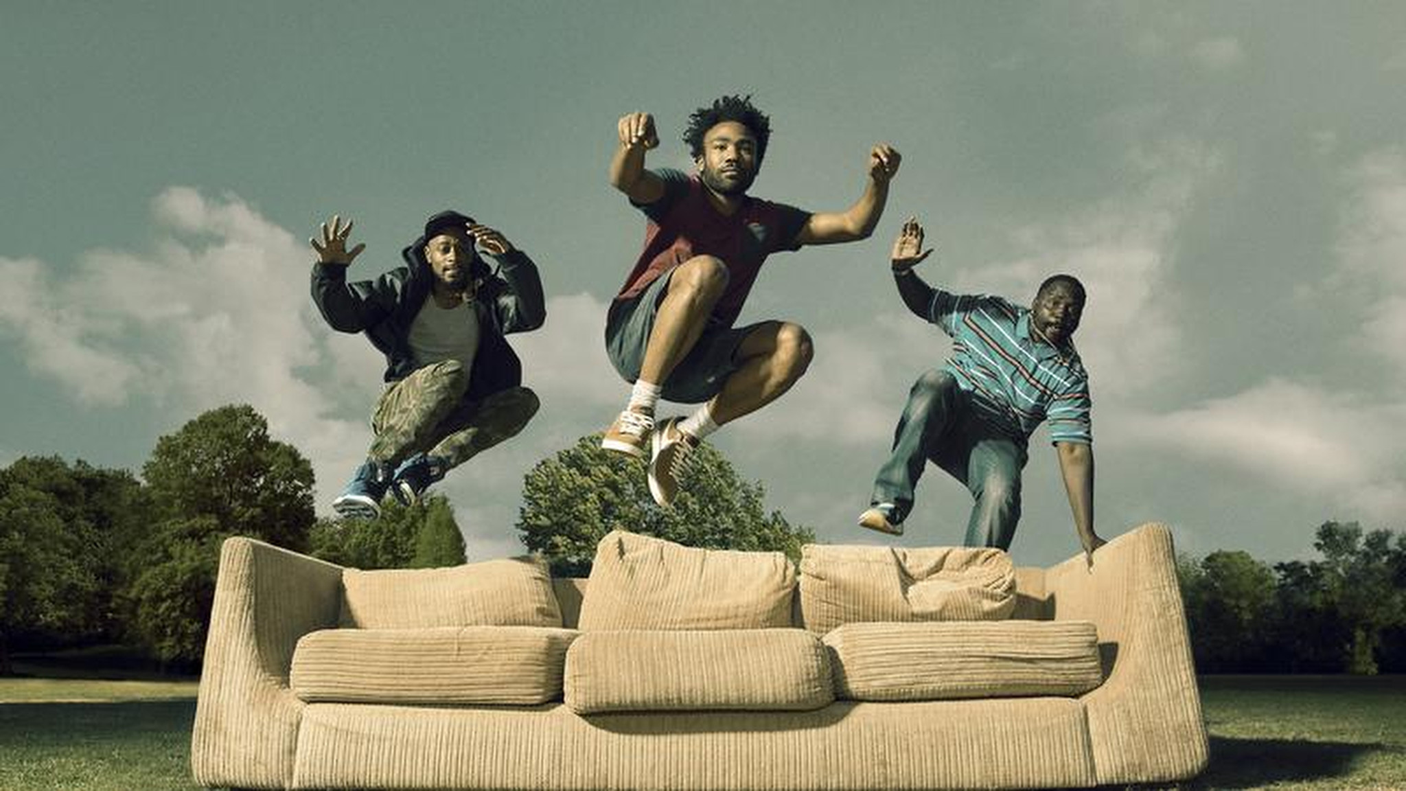 """Atlanta's"" Donald Glover, center; Lakeith Stanfield, left; and Brian Tyree Henry. (Matthias Clamer / FX)"