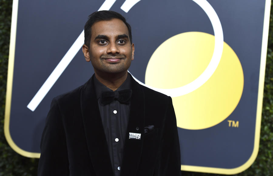 Aziz Ansari arrives at the 75th Golden Globe Awards at the Beverly Hilton Hotel in Beverly Hills on Jan. 7. (Jordan Strauss/Invision/AP)