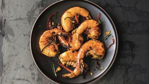 Turmeric shrimp with curry leaves