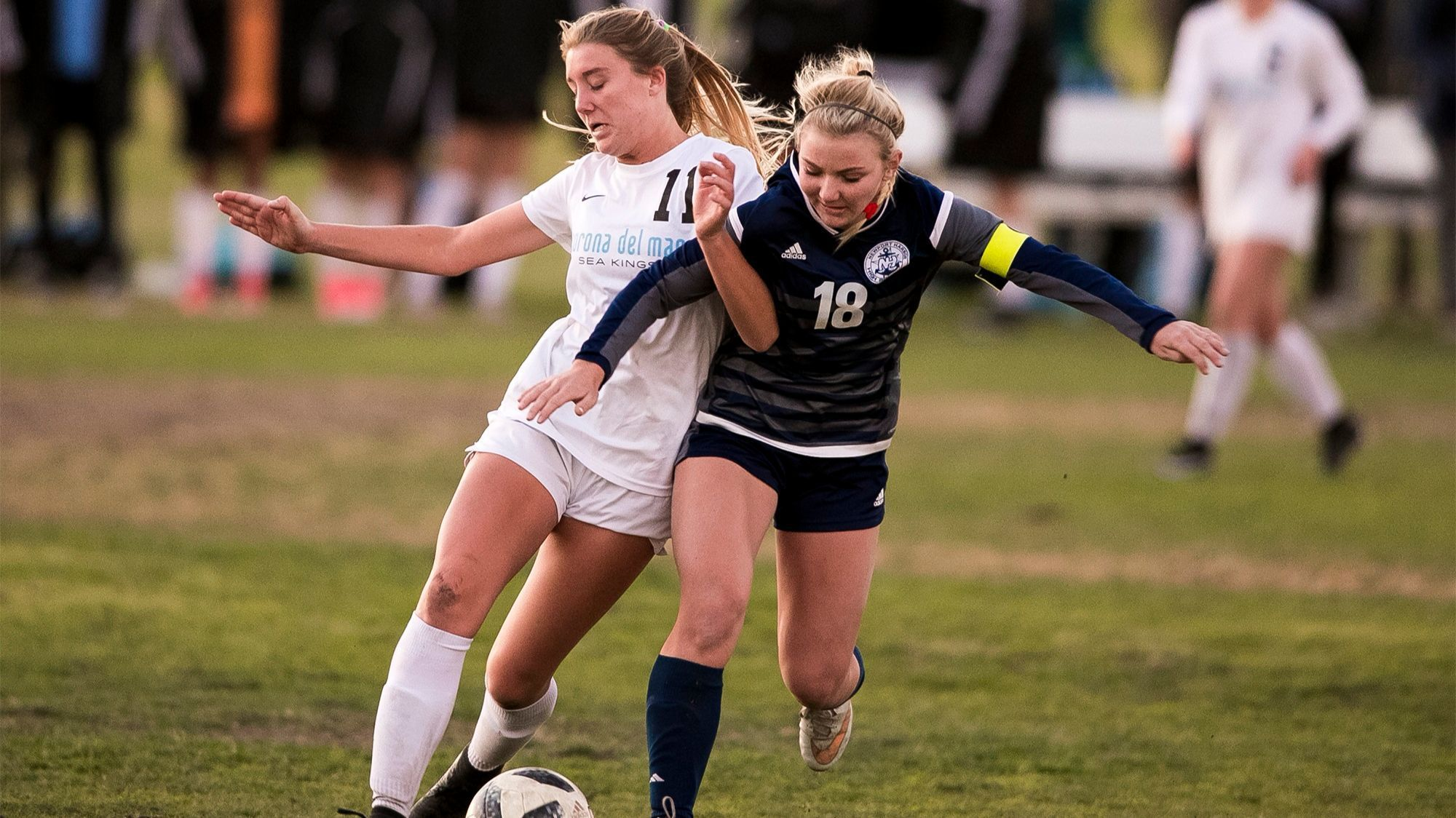 Corona del Mar boys' soccer player Katharine Caston and Newport Harbor's Scout Farmer
