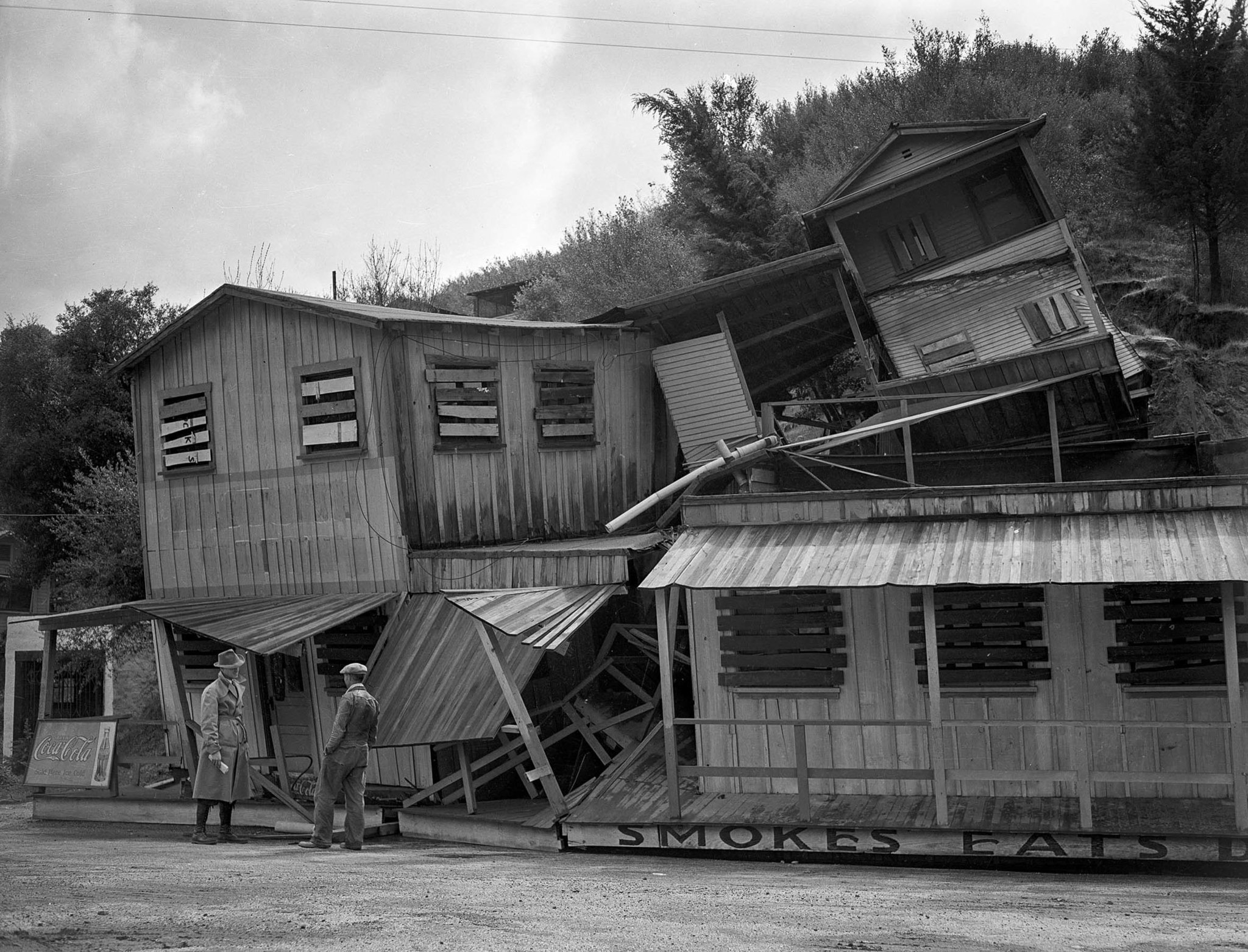 March 1, 1938: A three story structure once occupied by cafe at Cheeney Road and Topanga Canyon Road