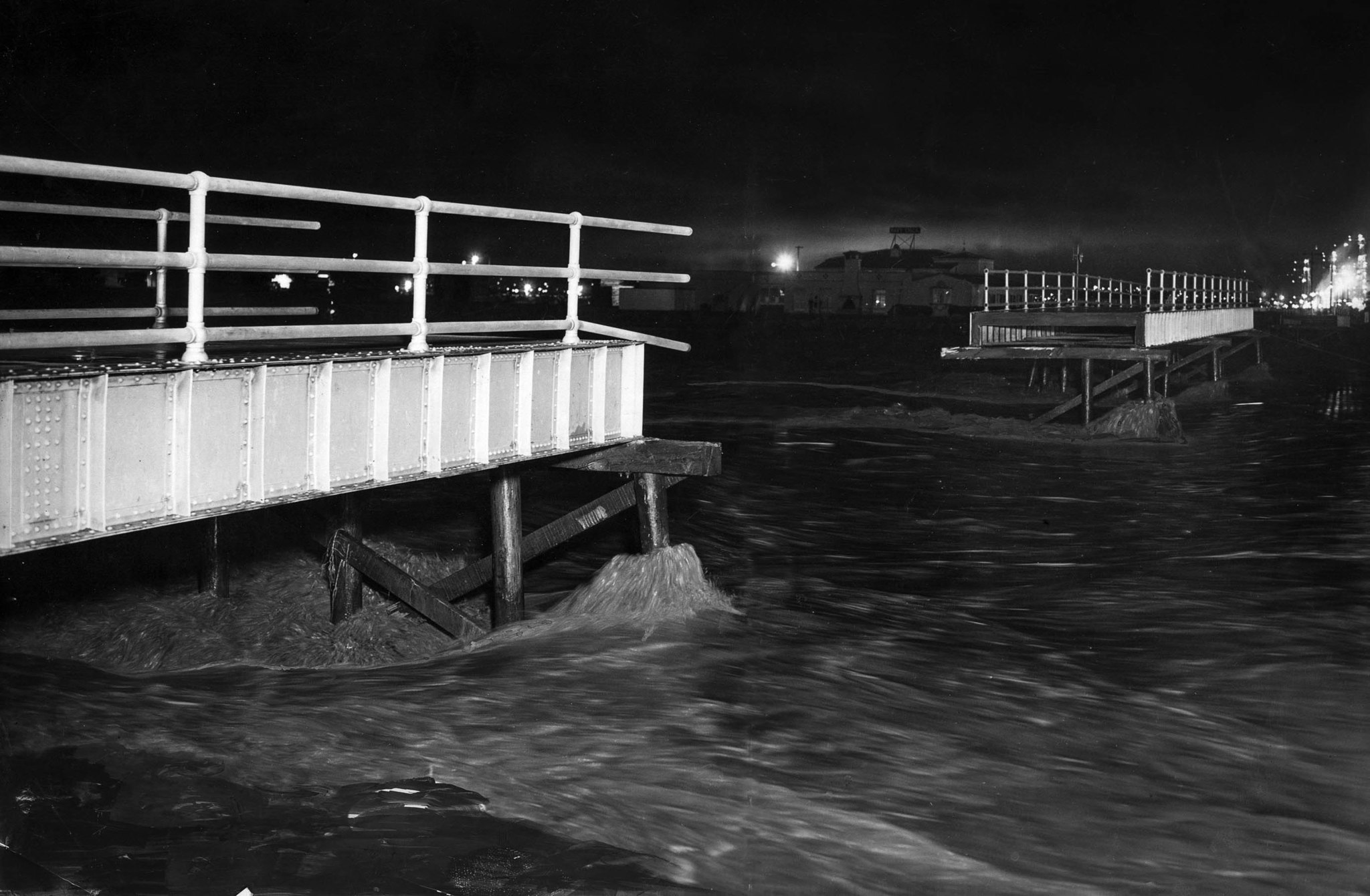 March 2, 1938: About ten were swept into the water when Third Street pedestrian bridge in Long Beach