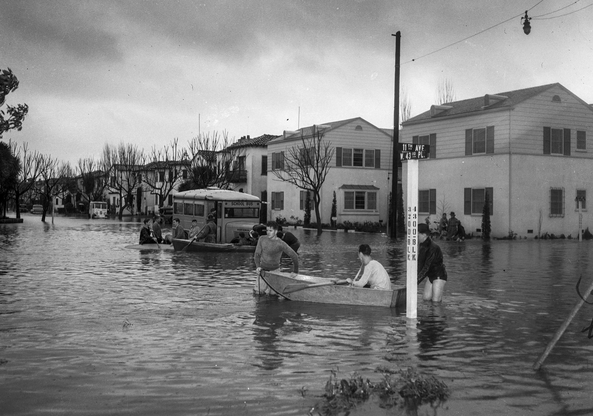 March 2, 1938: Flooding at West Forty-Third Place and 11th Avenue near Leimert Boulevard with stuck