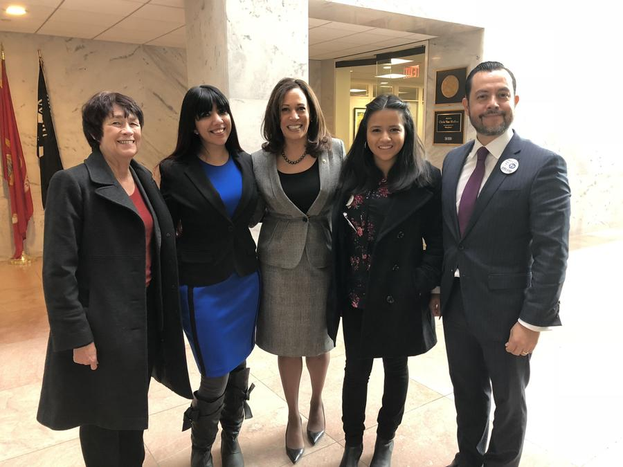 UC Merced Chancellor Dorothy Leland, from left, and student Boe Mendewala meet with U.S. Sen. Kamala Harris and Whittier College representatives at the U.S. Capitol. (UC Merced)