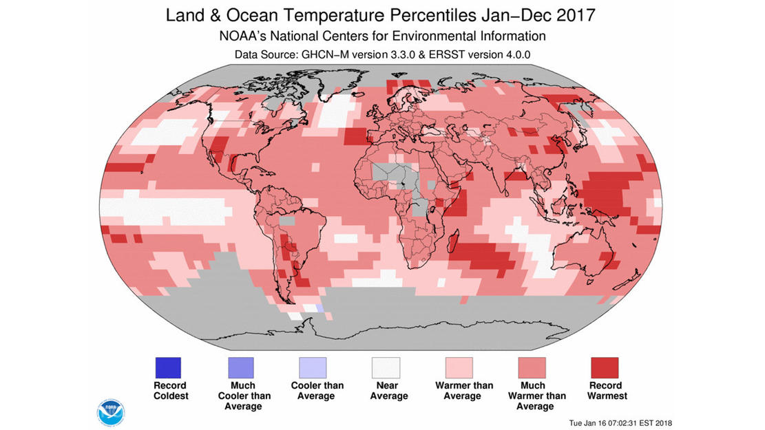 This color-coded map shows that most of the Earth was warmer than average for the calendar year 2017. — Source: NOAA/NCEI.
