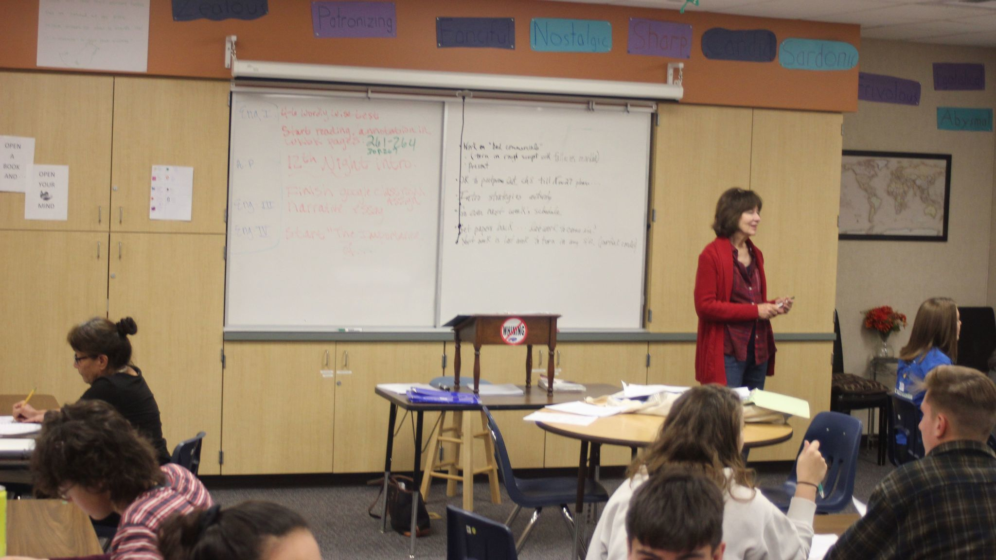 Palomar Professor Glenda Snell explains an assignment to one of the groups in her English 100 class.