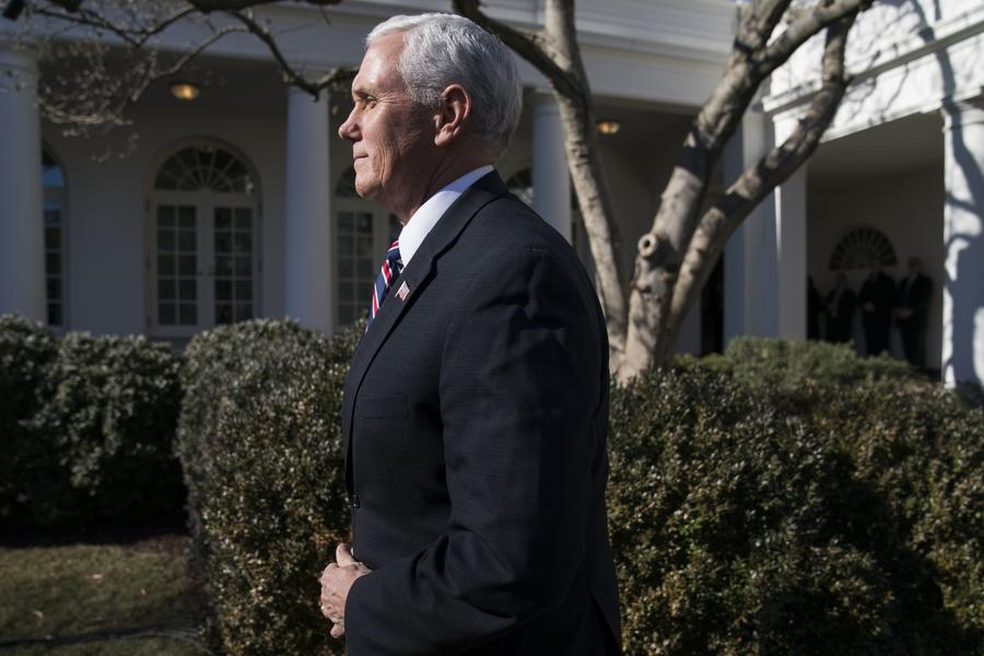 Vice President Mike Pence prepares to address March for Life participants from the Rose Garden. (Scalzo / EPA / Shutterstock)