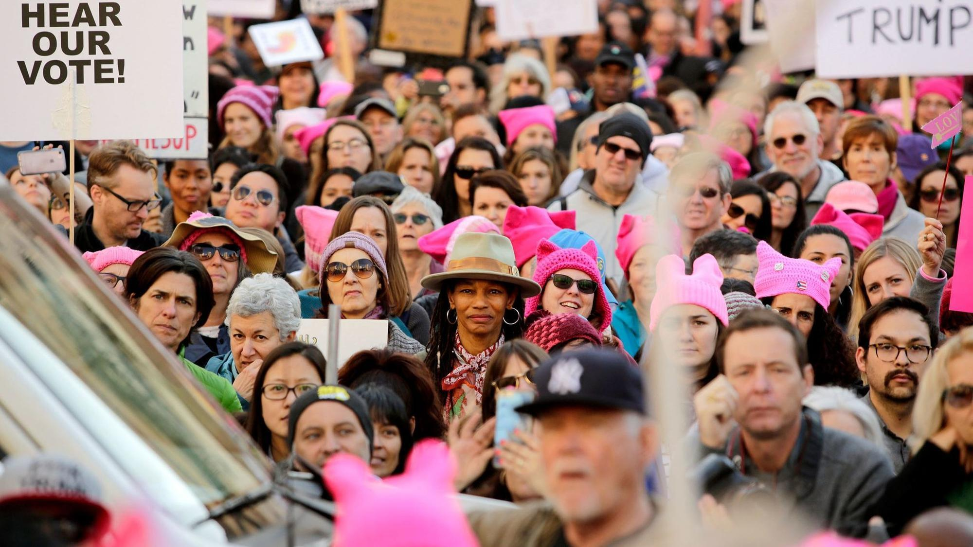 Women march against Trump worldwide