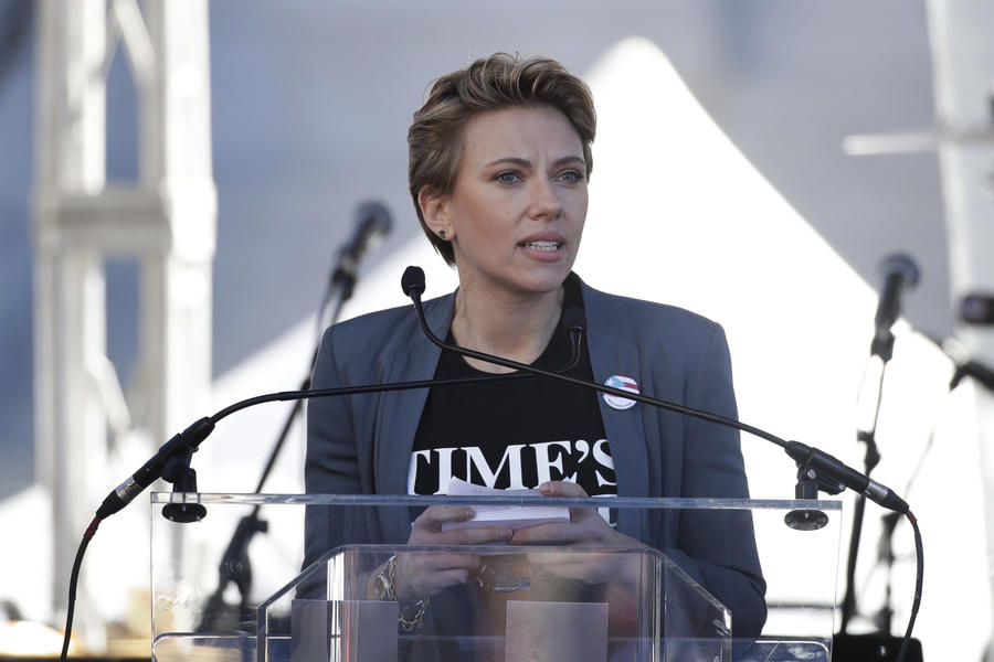 Scarlett Johansson Tells James Franco She Wants Her Time's Up Pin Back