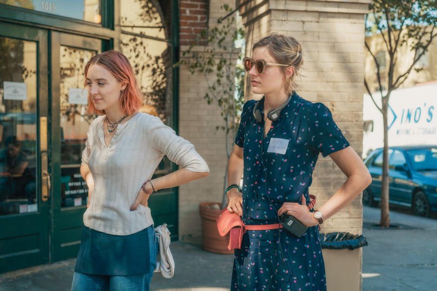 "Director Greta Gerwig, right, and Saoirse Ronan on the set of ""Lady Bird."" (Merie Wallace / A24)"