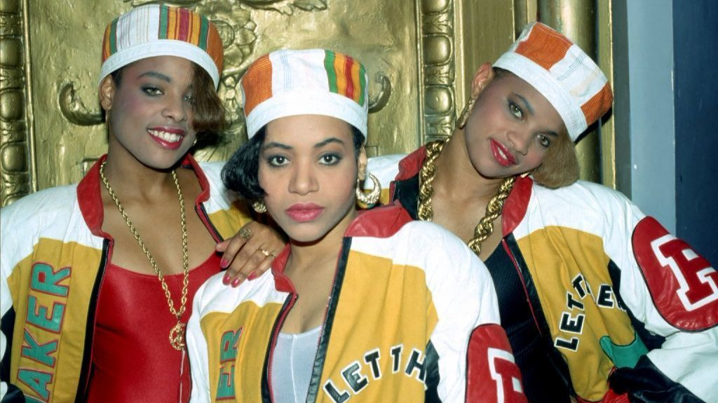 Rappers Salt-N-Pepa and DJ Spinderella wearing Dapper Dan's originals in 1988.