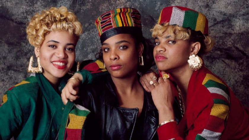 Salt-n-Pepa, studio, group portrait, London, 1989.