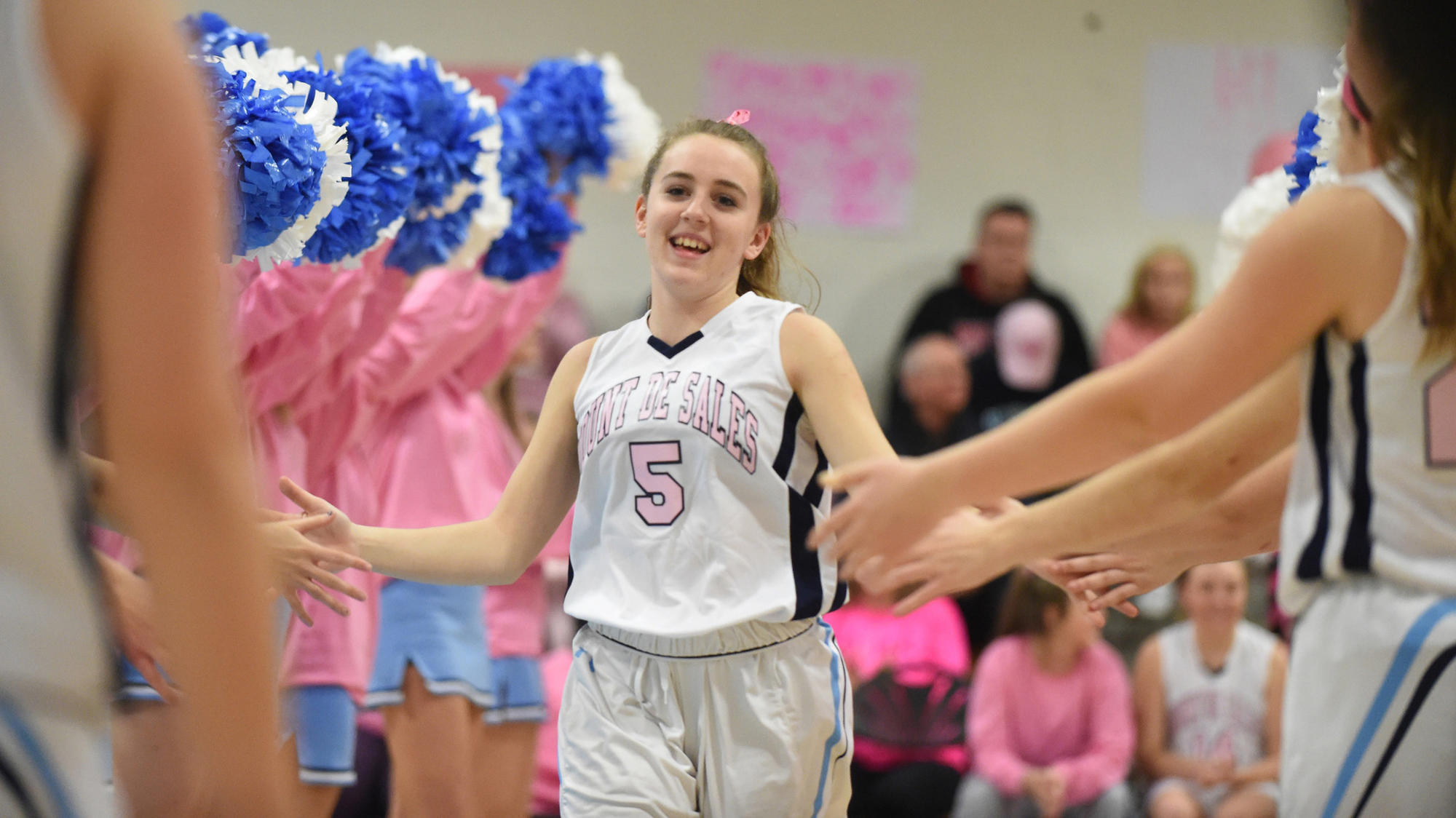 Pink Out basketball game for breast cancer brings Mount de Sales players and fans together