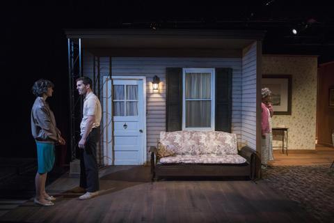 Lucy Carapetyan,Benjamin SprungerandLynne BakerinRaven Theatre'sChicago premiere ofNice Girlat the Raven Theatre.