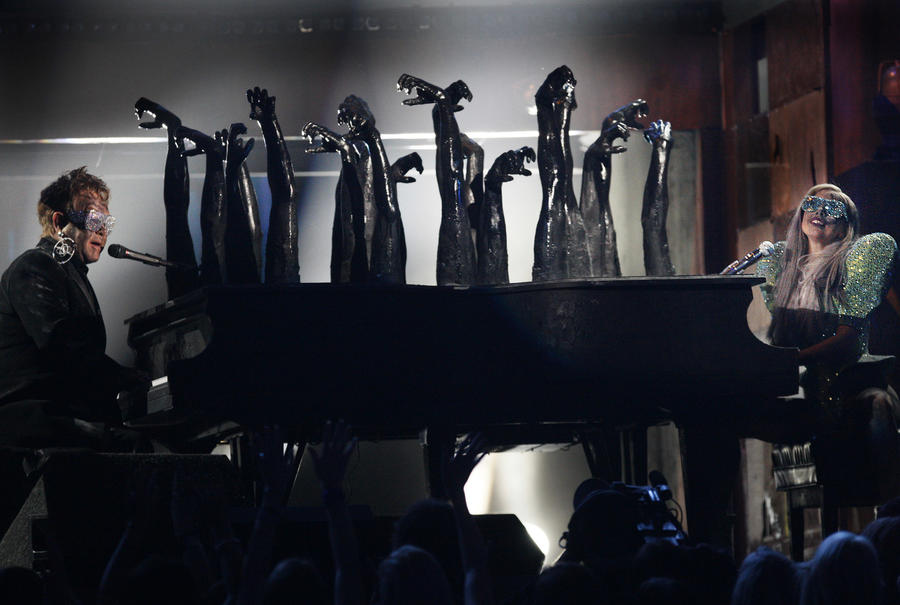 Elton John and Lady Gaga faced off at the 2010 Grammys. (Robert Gauthier / Los Angeles Times)