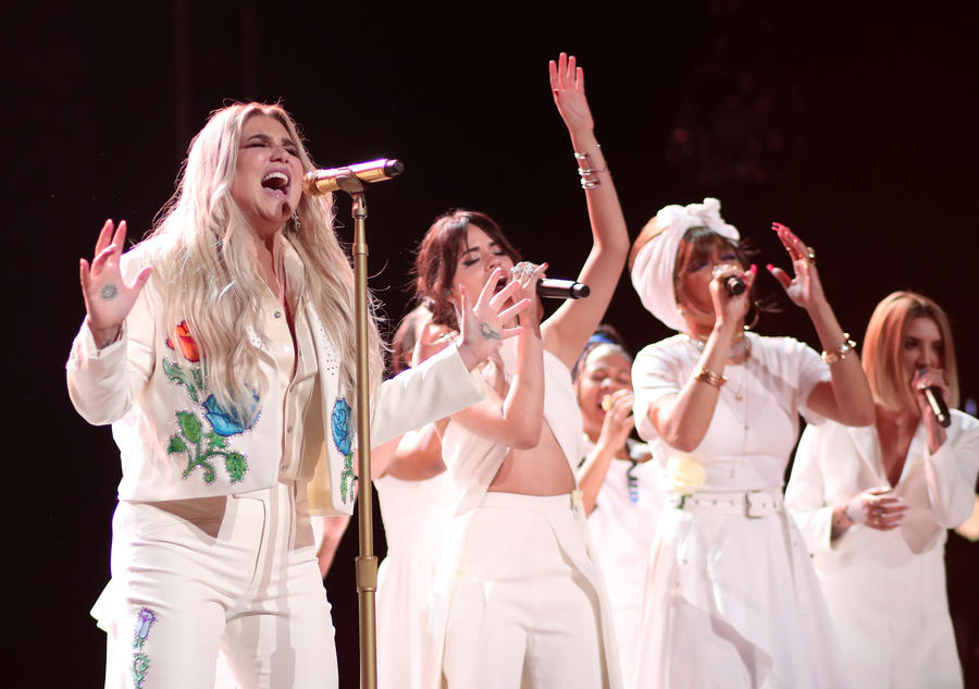 Kesha and other artists perform at the Grammys. (Christopher Polk)