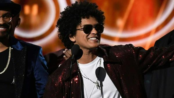 Bruno Mars at the 60th Grammy Awards. (Timothy A. Clary / AFP / Getty Images)