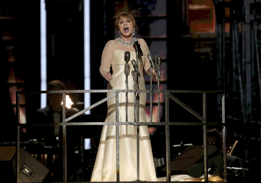 "Patti LuPone performs ""Don't Cry for Me Argentina"" during a tribute to Andrew Lloyd Webber at the Grammys. (Matt Sayles / Invision/Associated Press)"