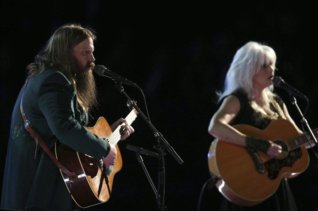 Chris Stapleton and Emmylou Harris performed a tribute to Tom Petty. (Matt Sayles / Invision/Associated Press)
