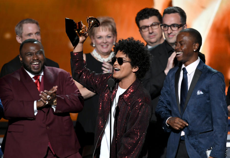 Bruno Mars accepting the album of the year prize. (Kevin Winter / Getty Images)