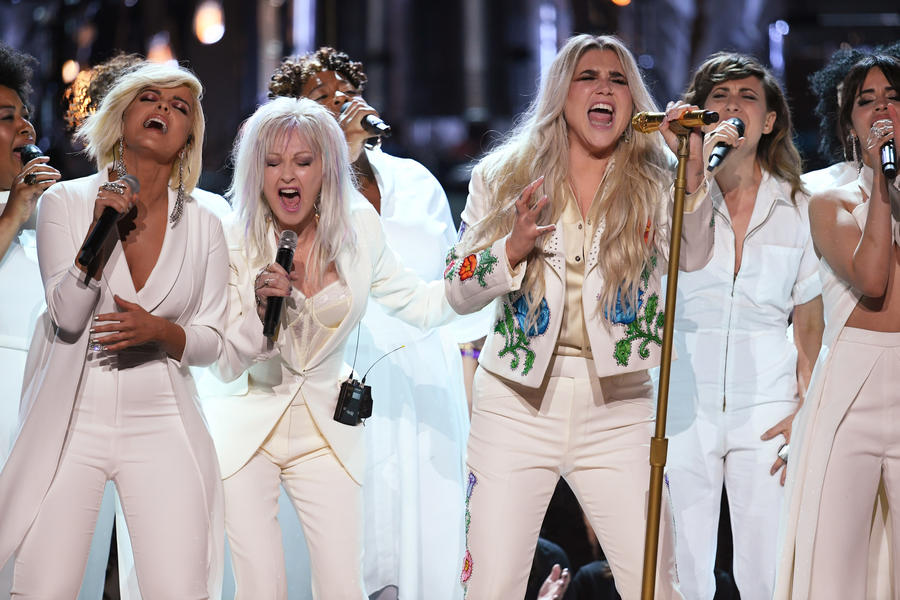 Kesha, center, with Bebe Rexha, left, Cyndi Lauper and Camila Cabello at the 60th Grammy Awards. (Kevin Winter / Getty Images)