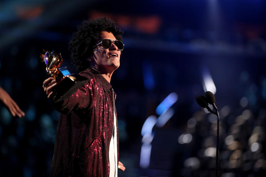 Bruno Mars accepts the award for album of the year at the 60th Grammy Awards. (Christopher Polk / Getty Images)