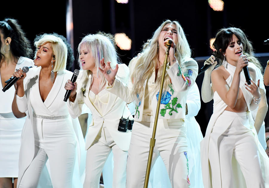 From left, Bebe Rexha, Cyndi Lauper, Kesha and Camila Cabello at the 60th Grammy Awards. (Jeff Kravitz / FilmMagic)