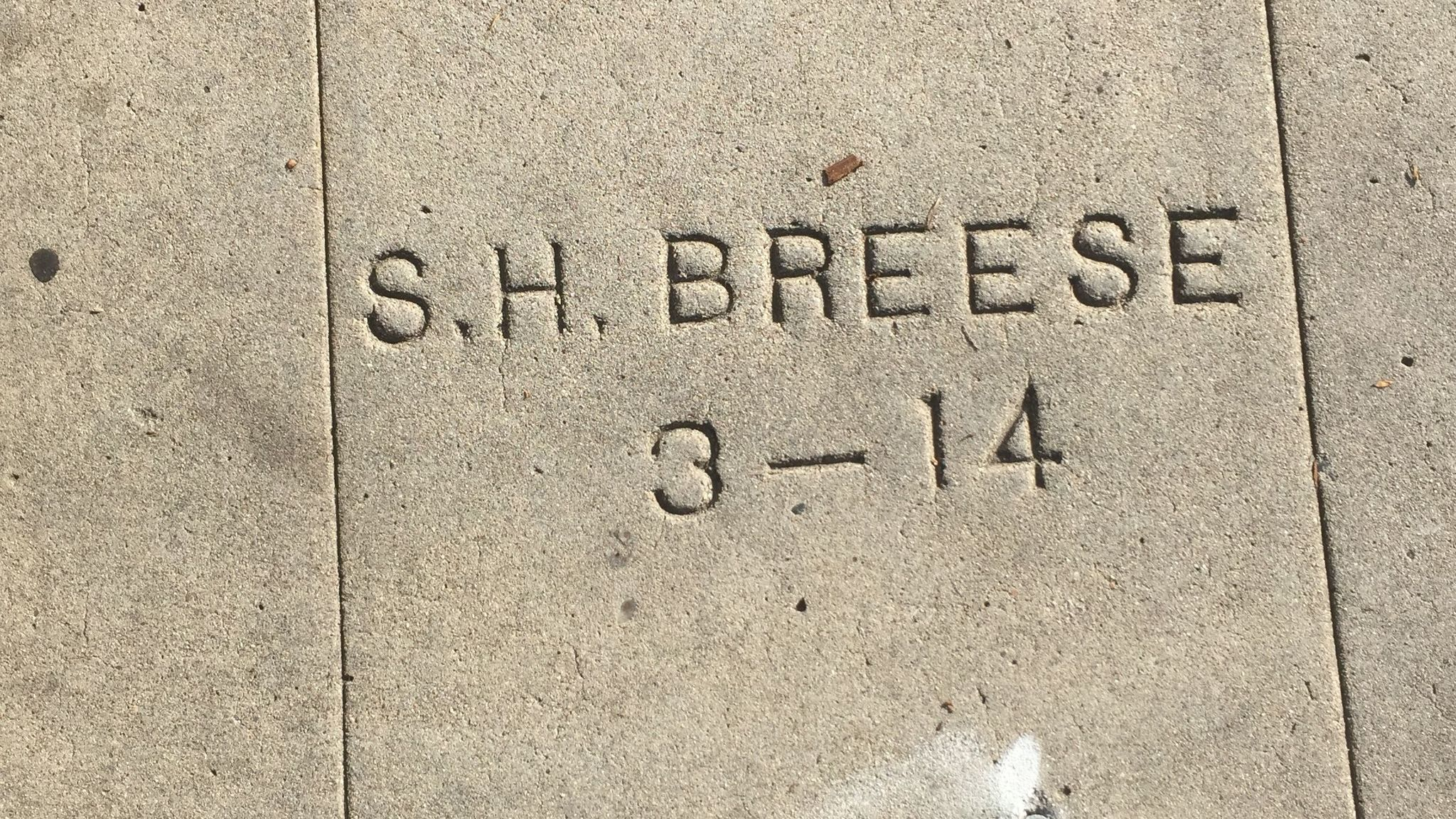 A tinge of the original pink favored by famed landscape architect Kate Sessions can still be seen in this sidewalk stamp around Ellen Browning Scripps former home.