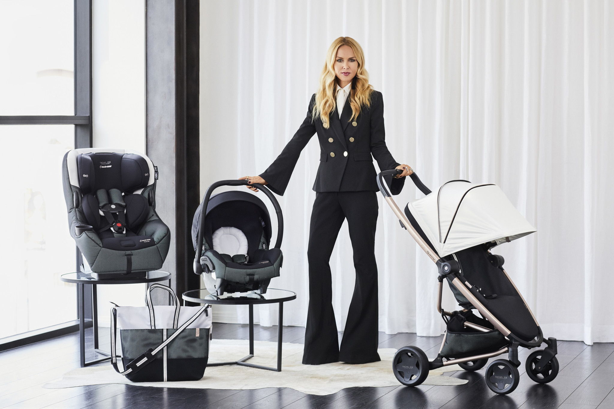 For stylish moms, designer Rachel Zoe has created a black-and-white collection of baby gear with champagne metal accents.