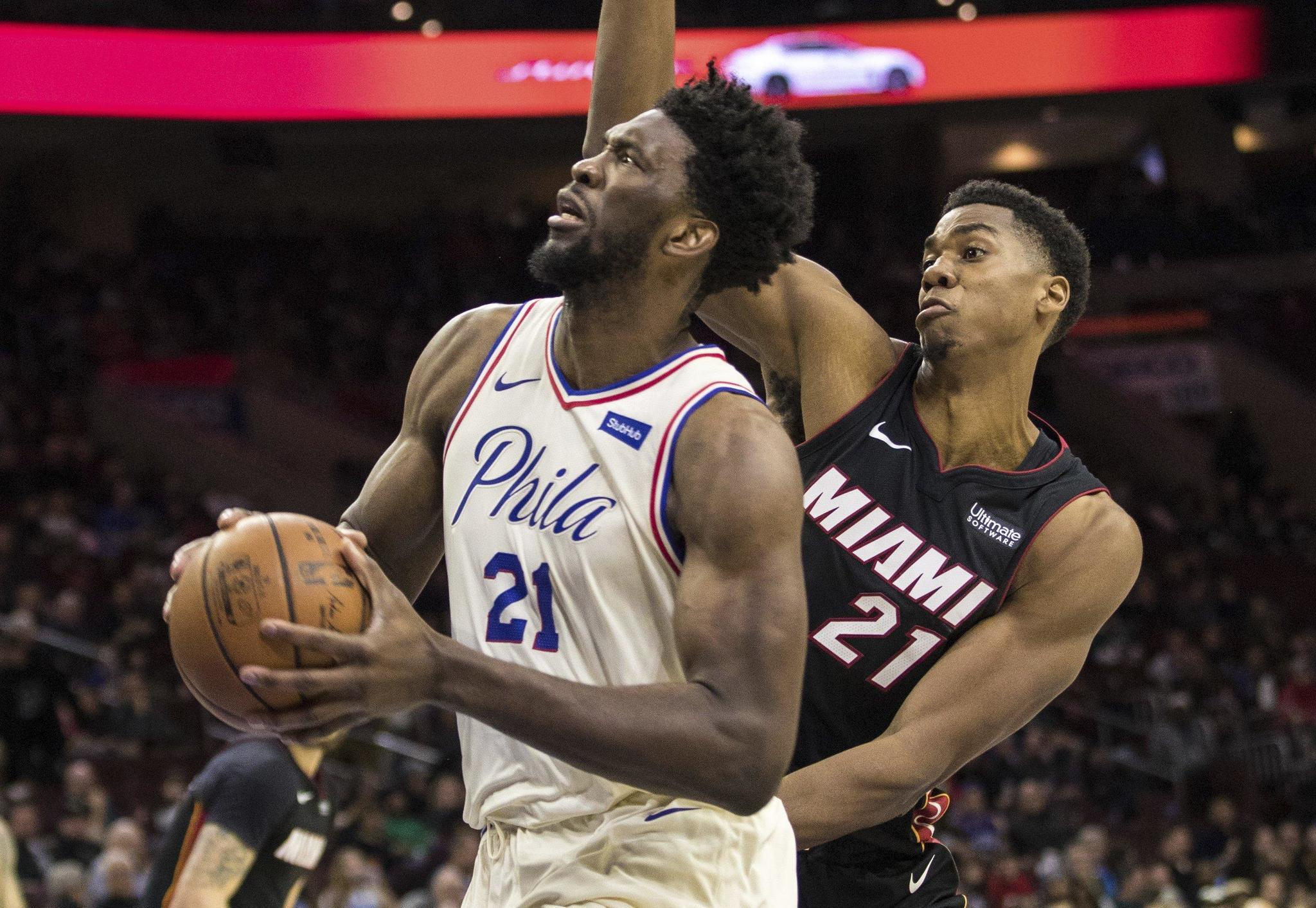 eae54fdc803dd 76ers get in on Philly s Super Bowl bash with win over Heat - The Morning  Call