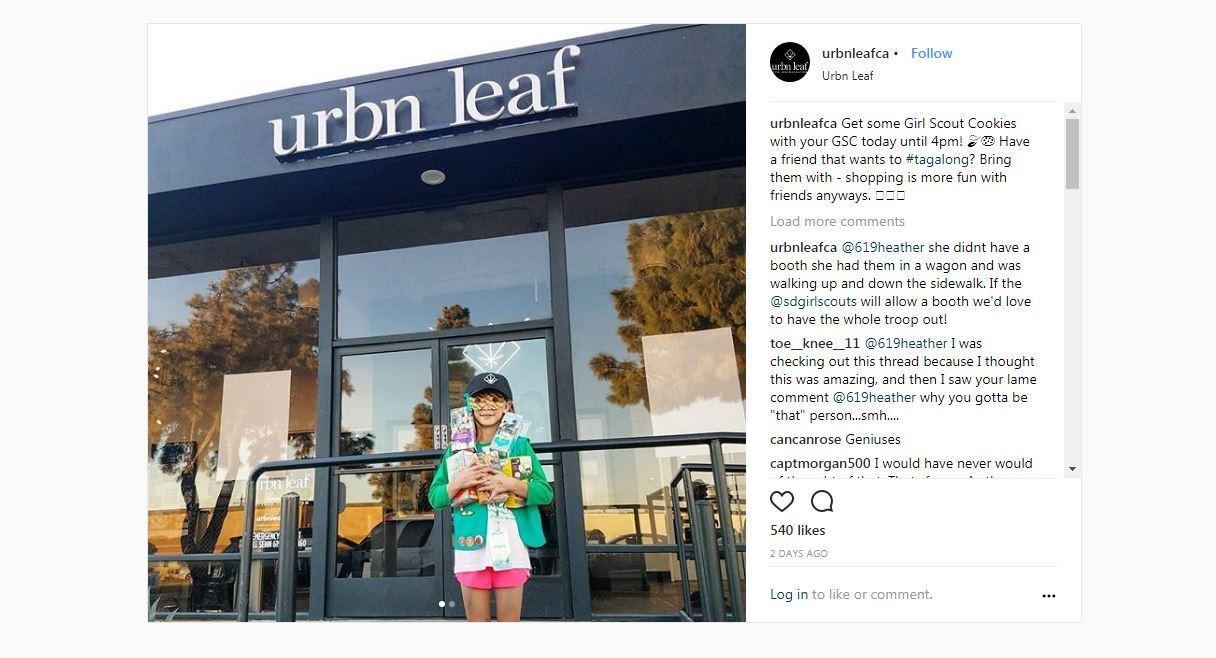 San Diego Girl Scout sells cookies outside Urbn Leaf