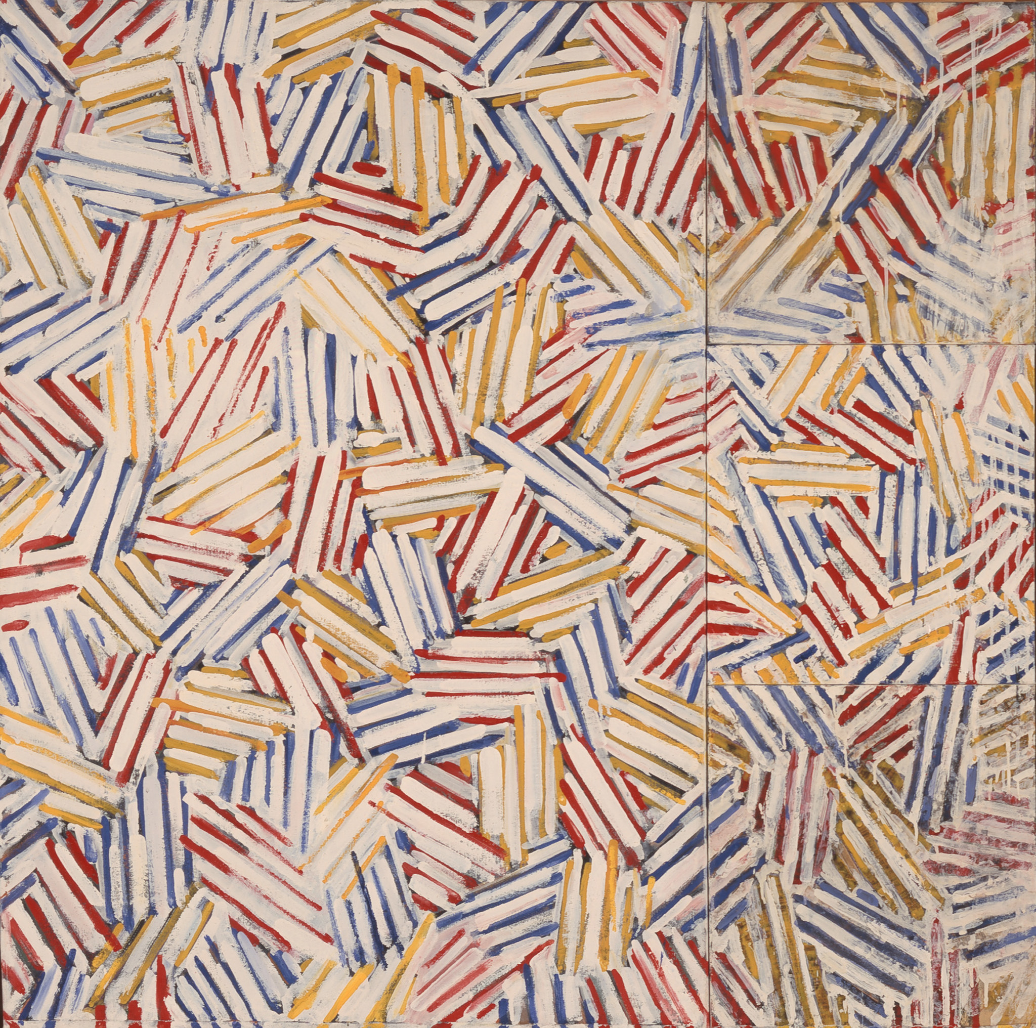 "Jasper Johns' ""Untitled"" (1975) was the first painting by the artist that Eli and Edythe Broad acquired for their collection."
